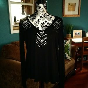 FREE PEOPLE BLACK THERMAL TOP CUTOUTS & DOUBLE V